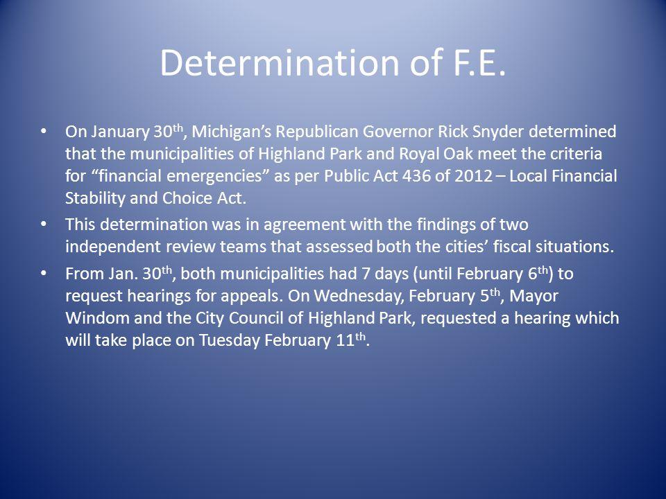 Determination of F.E.