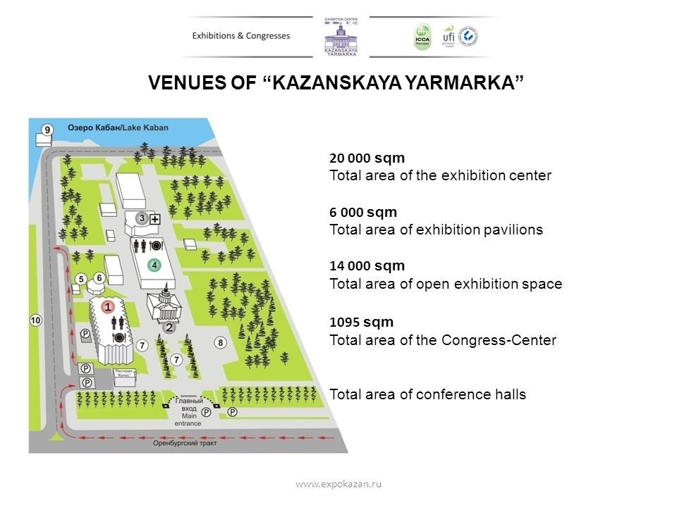 VENUES OF KAZANSKAYA YARMARKA 20 000 sqm Total area of the exhibition center 6 000 sqm Total area of exhibition pavilions 14 000 sqm Total area of ope