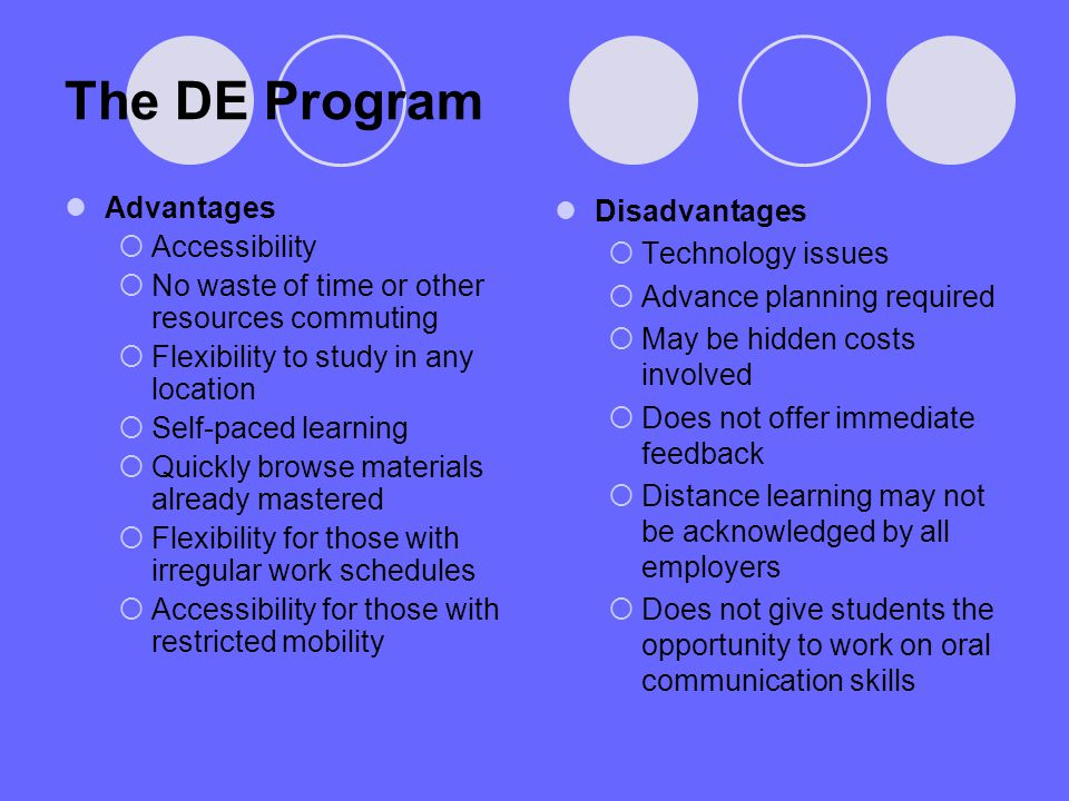 The DE Program Advantages Accessibility No waste of time or other resources commuting Flexibility to study in any location Self-paced learning Quickly browse materials already mastered Flexibility for those with irregular work schedules Accessibility for those with restricted mobility Disadvantages Technology issues Advance planning required May be hidden costs involved Does not offer immediate feedback Distance learning may not be acknowledged by all employers Does not give students the opportunity to work on oral communication skills