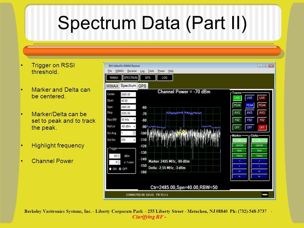 Spectrum Data (Part II) Trigger on RSSI threshold.