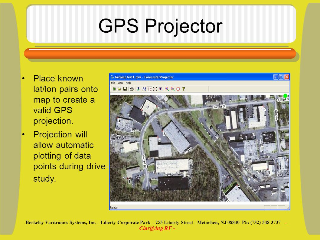 GPS Projector Place known lat/lon pairs onto map to create a valid GPS projection.