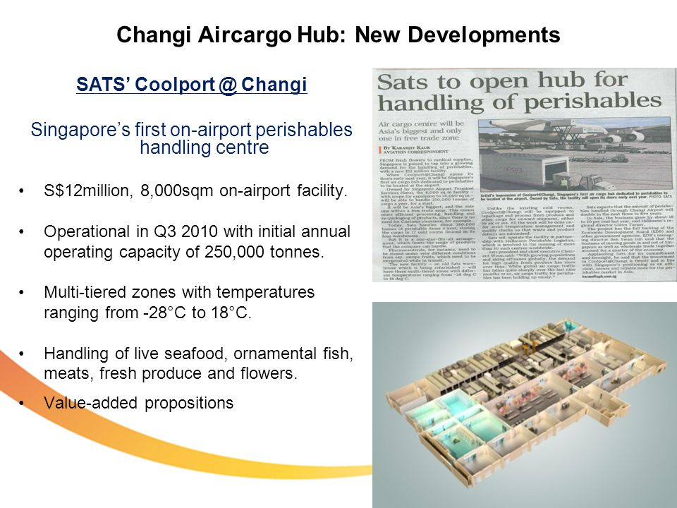 Changi Aircargo Hub: New Developments SATS Coolport @ Changi Singapores first on-airport perishables handling centre S$12million, 8,000sqm on-airport facility.