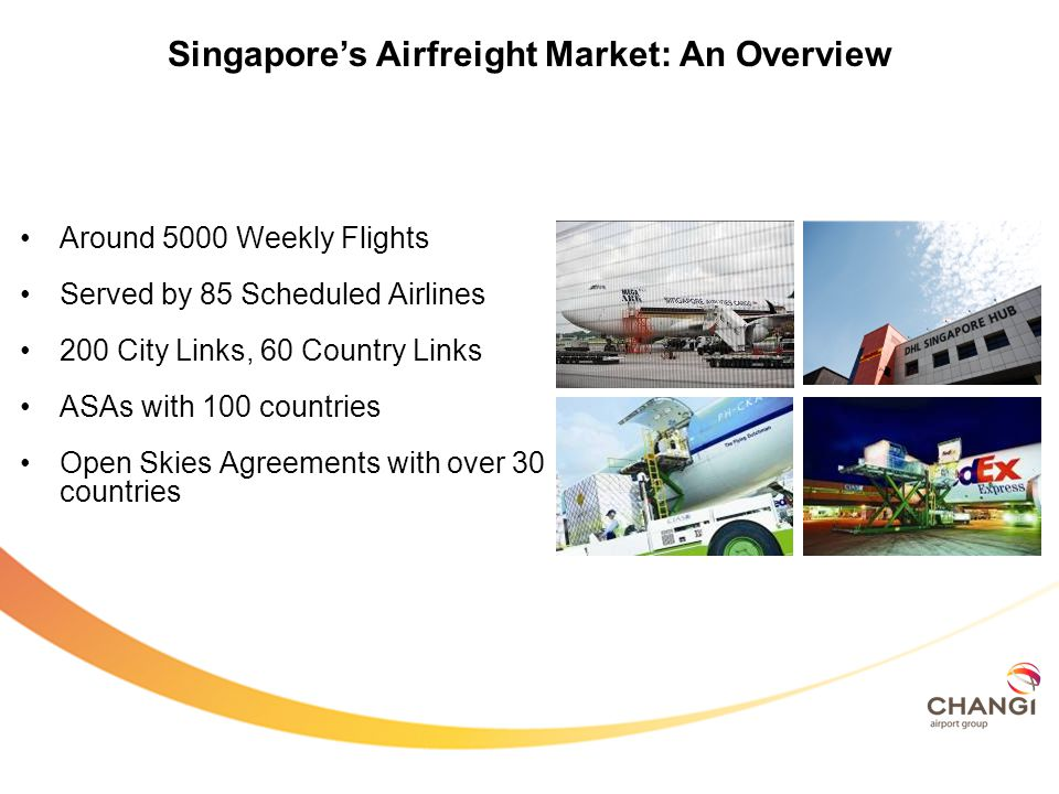 Around 5000 Weekly Flights Served by 85 Scheduled Airlines 200 City Links, 60 Country Links ASAs with 100 countries Open Skies Agreements with over 30 countries Singapores Airfreight Market: An Overview