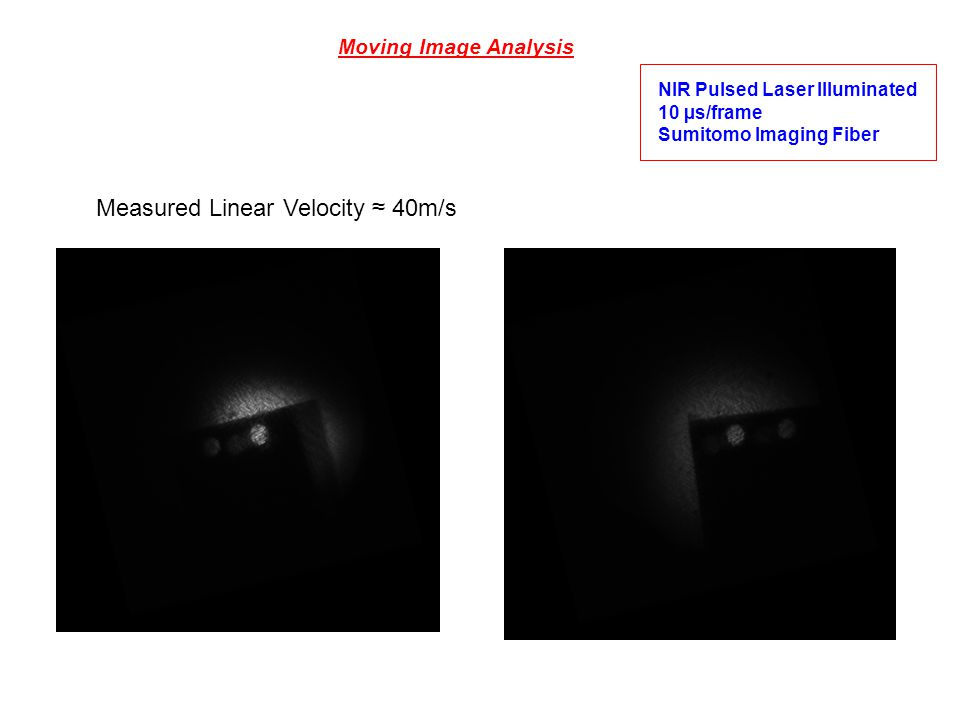 Moving Image Analysis NIR Pulsed Laser Illuminated 10 µs/frame Sumitomo Imaging Fiber Measured Linear Velocity 40m/s