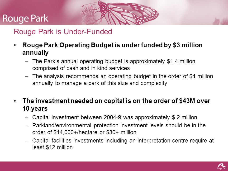 Summary of Major Findings The Opportunity: The Rouge Park is a remarkable environmental asset.