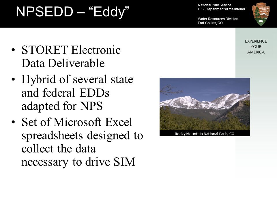 National Park Service U.S. Department of the Interior Water Resources Division Fort Collins, CO STORET Electronic Data Deliverable Hybrid of several s