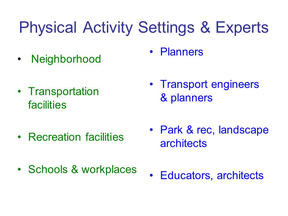 Physical Activity Settings & Experts Neighborhood Transportation facilities Recreation facilities Schools & workplaces Planners Transport engineers & planners Park & rec, landscape architects Educators, architects