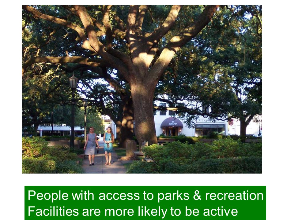 People with access to parks & recreation Facilities are more likely to be active