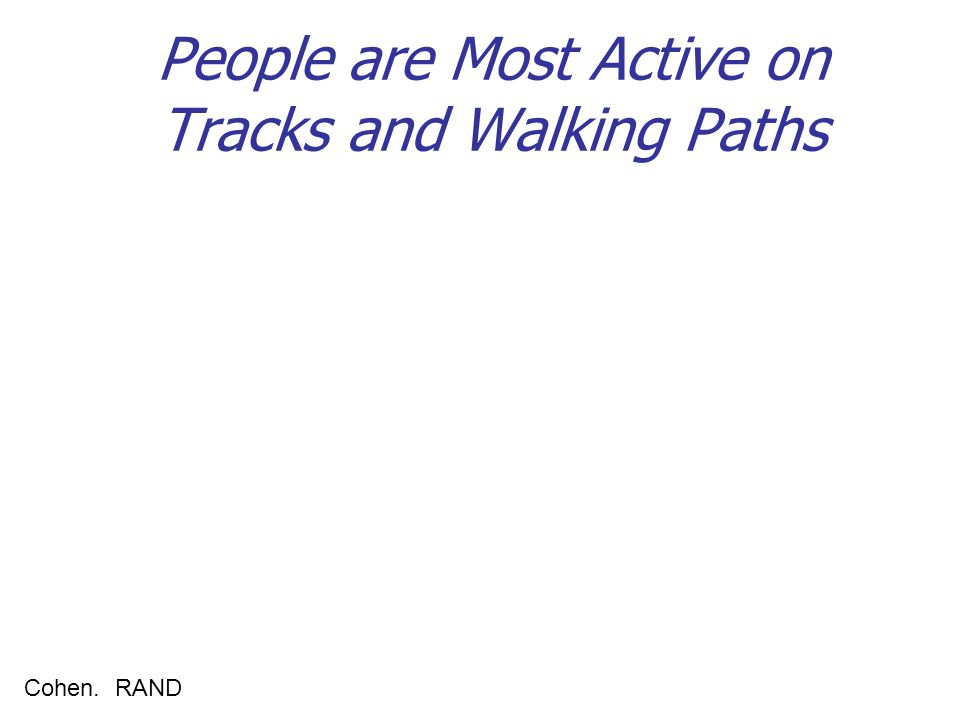 People are Most Active on Tracks and Walking Paths Cohen. RAND