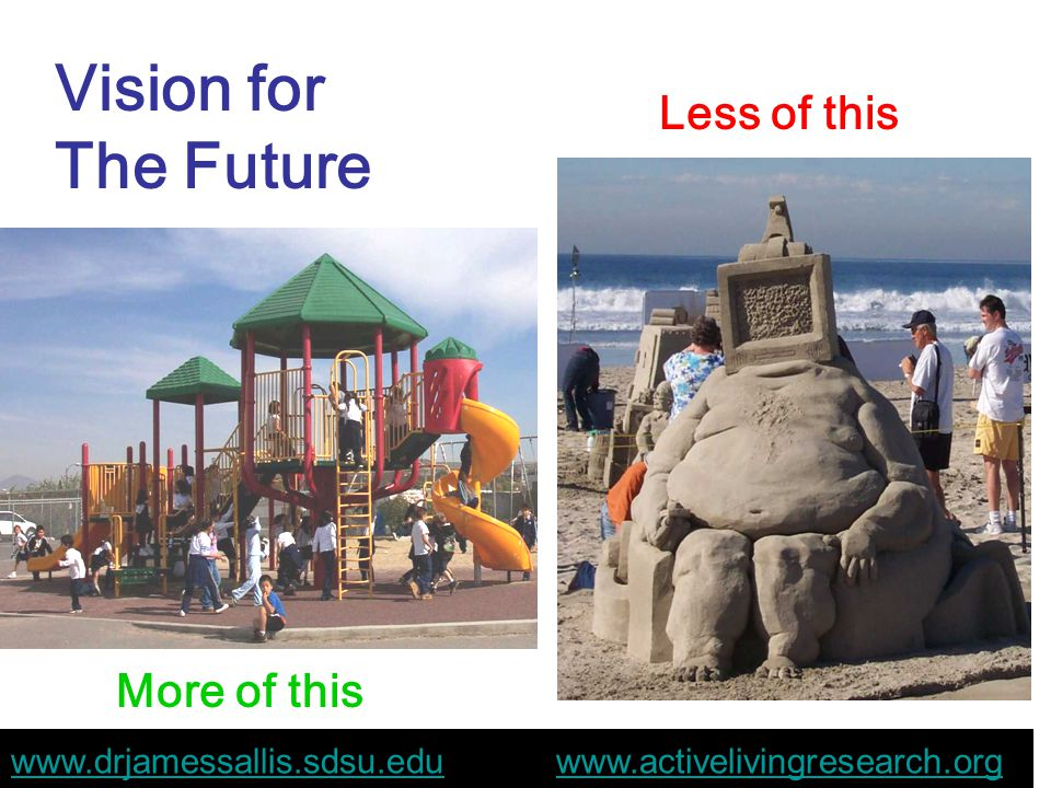 More of this Less of this Vision for The Future www.drjamessallis.sdsu.eduwww.drjamessallis.sdsu.edu www.activelivingresearch.orgwww.activelivingresearch.org