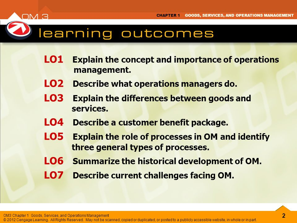 2 OM3 Chapter 1 Goods, Services, and Operations Management © 2012 Cengage Learning. All Rights Reserved. May not be scanned, copied or duplicated, or