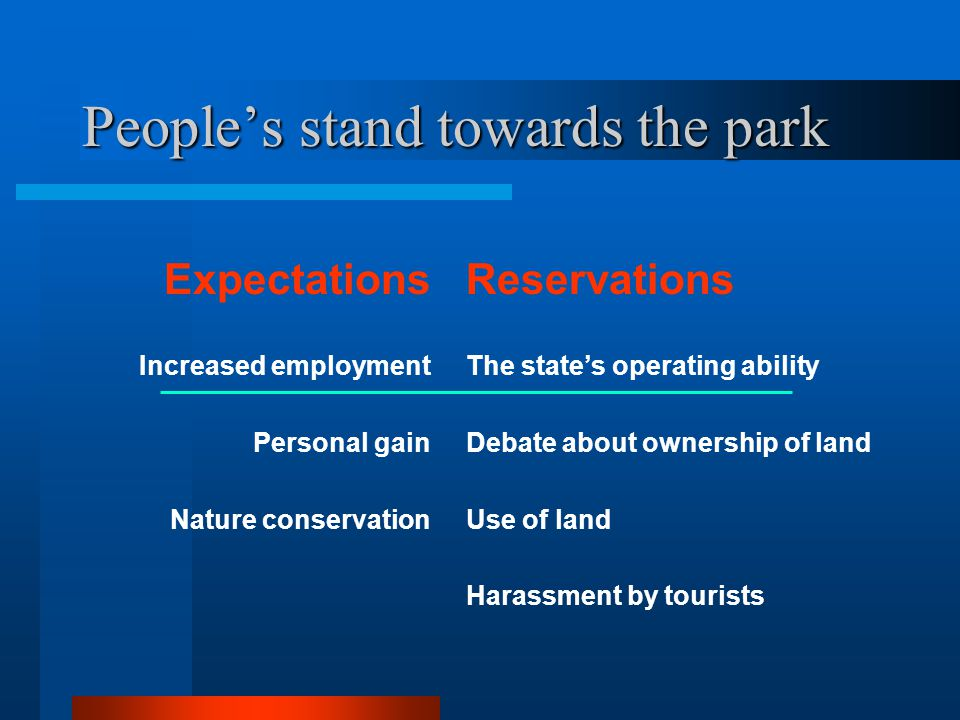 Peoples stand towards the park Expectations Increased employment Personal gain Nature conservation Reservations The states operating ability Debate ab