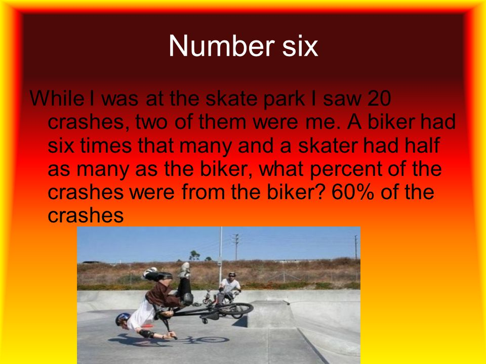 Number six While I was at the skate park I saw 20 crashes, two of them were me.