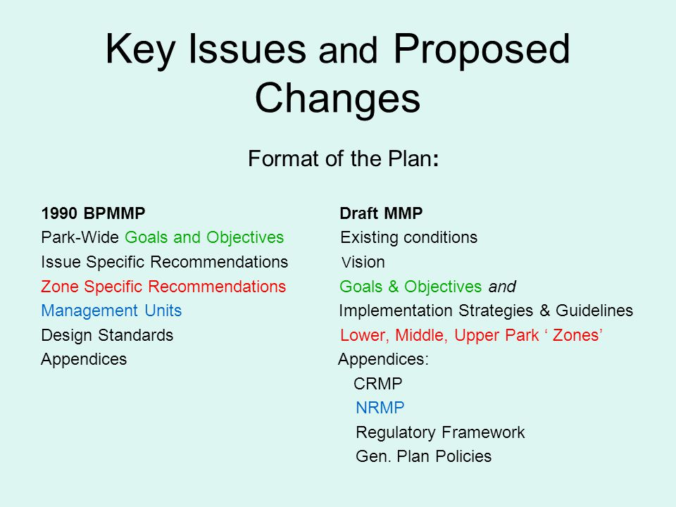 Key Issues and Proposed Changes Format of the Plan: 1990 BPMMP Draft MMP Park-Wide Goals and Objectives Existing conditions Issue Specific Recommendations V ision Zone Specific Recommendations Goals & Objectives and Management Units Implementation Strategies & Guidelines Design Standards Lower, Middle, Upper Park Zones Appendices Appendices: CRMP NRMP Regulatory Framework Gen.