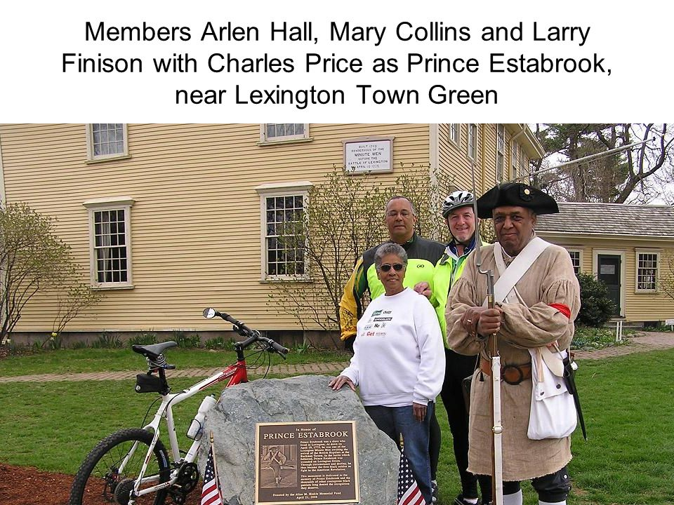 Members Arlen Hall, Mary Collins and Larry Finison with Charles Price as Prince Estabrook, near Lexington Town Green