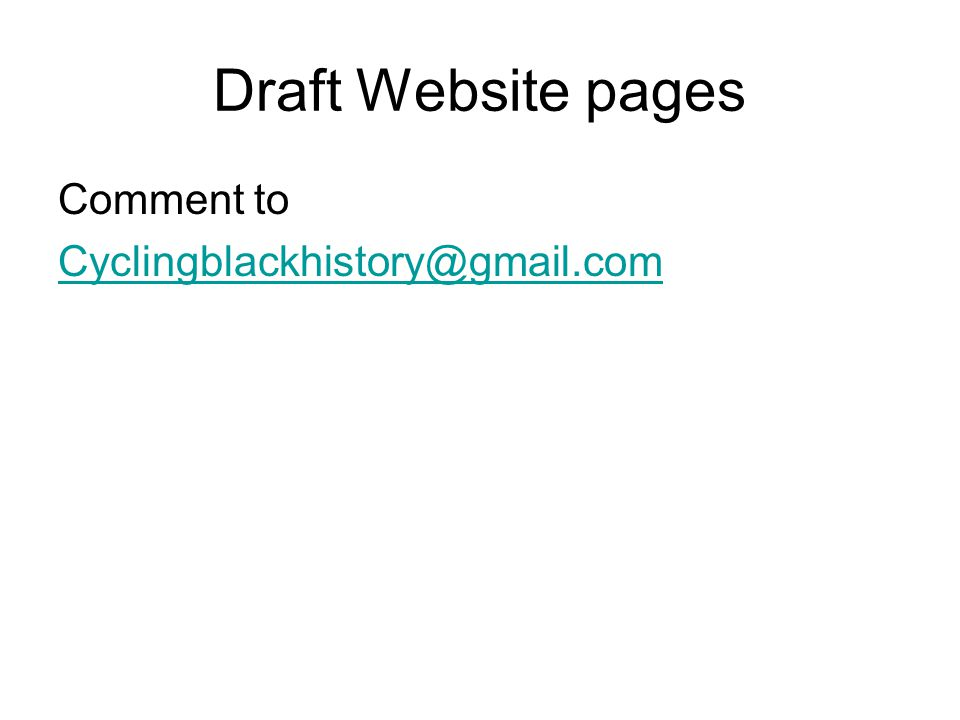 Draft Website pages Comment to