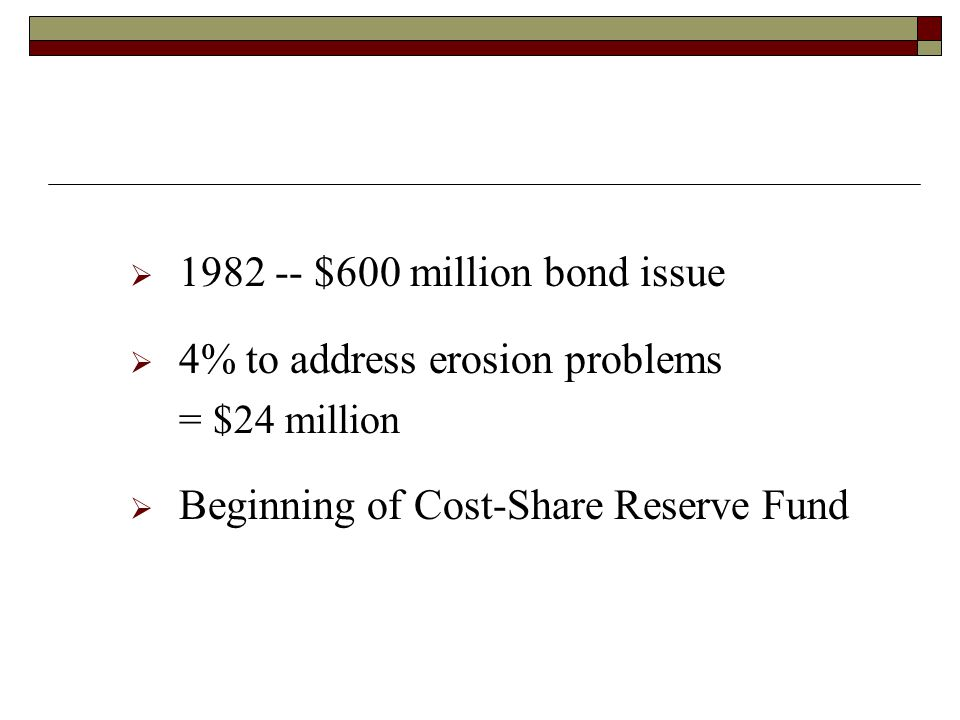$600 million bond issue 4% to address erosion problems = $24 million Beginning of Cost-Share Reserve Fund