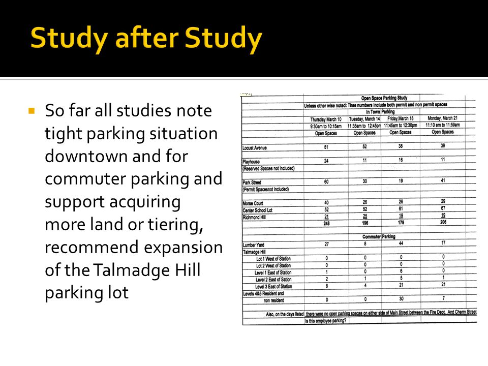 So far all studies note tight parking situation downtown and for commuter parking and support acquiring more land or tiering, recommend expansion of the Talmadge Hill parking lot
