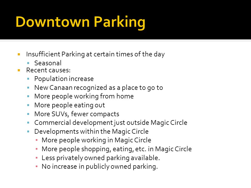 Insufficient Parking at certain times of the day Seasonal Recent causes: Population increase New Canaan recognized as a place to go to More people working from home More people eating out More SUVs, fewer compacts Commercial development just outside Magic Circle Developments within the Magic Circle More people working in Magic Circle More people shopping, eating, etc.