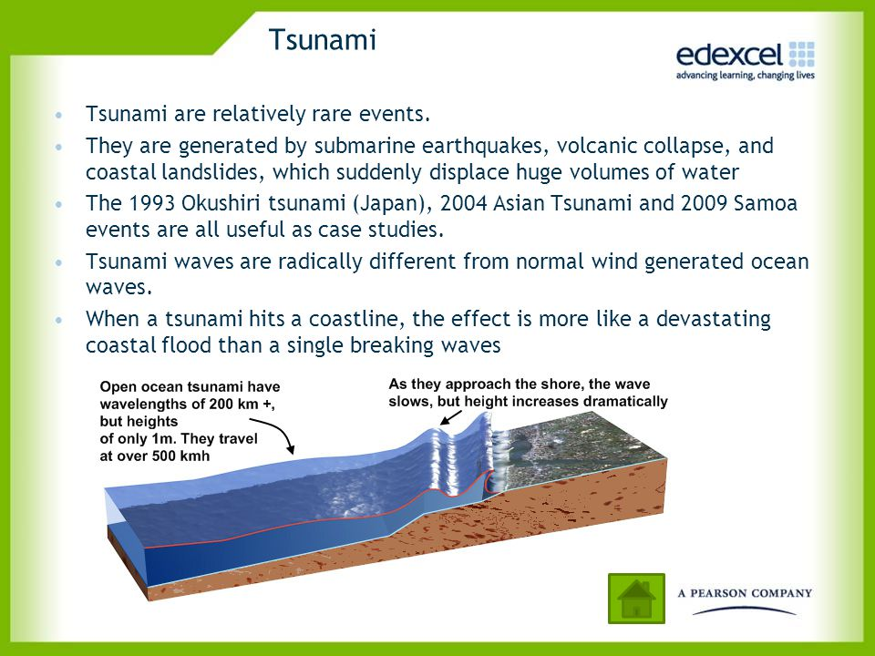 Tsunami Tsunami are relatively rare events. They are generated by submarine earthquakes, volcanic collapse, and coastal landslides, which suddenly dis