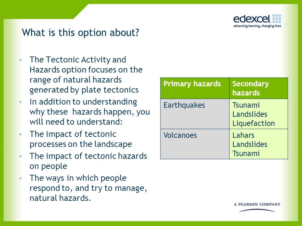 What is this option about? The Tectonic Activity and Hazards option focuses on the range of natural hazards generated by plate tectonics In addition t