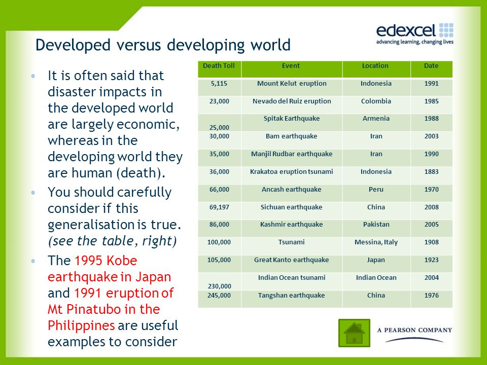 Developed versus developing world It is often said that disaster impacts in the developed world are largely economic, whereas in the developing world