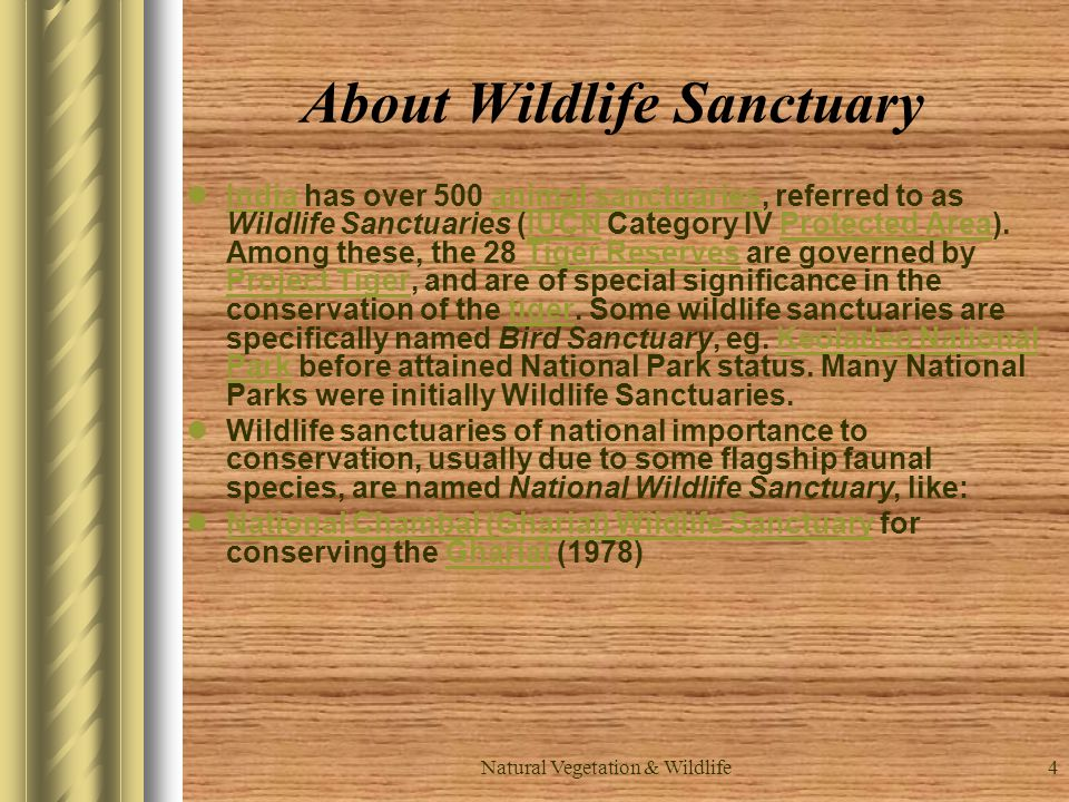 4 About Wildlife Sanctuary India has over 500 animal sanctuaries, referred to as Wildlife Sanctuaries (IUCN Category IV Protected Area).