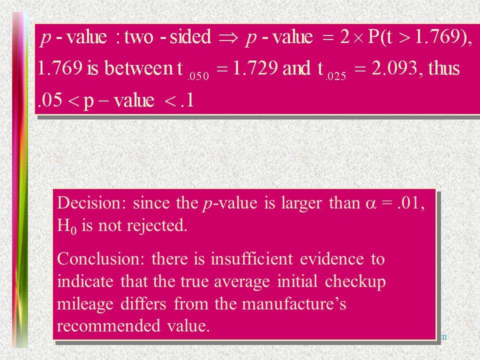Practice Midterm Decision: since the p-value is larger than =.01, H 0 is not rejected.