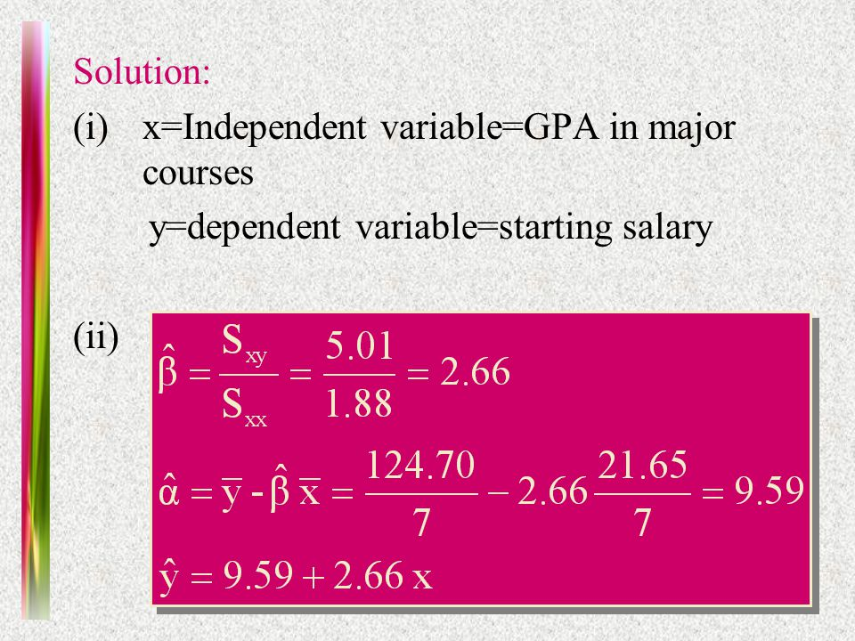Practice Midterm Solution: (i)x=Independent variable=GPA in major courses y=dependent variable=starting salary (ii)