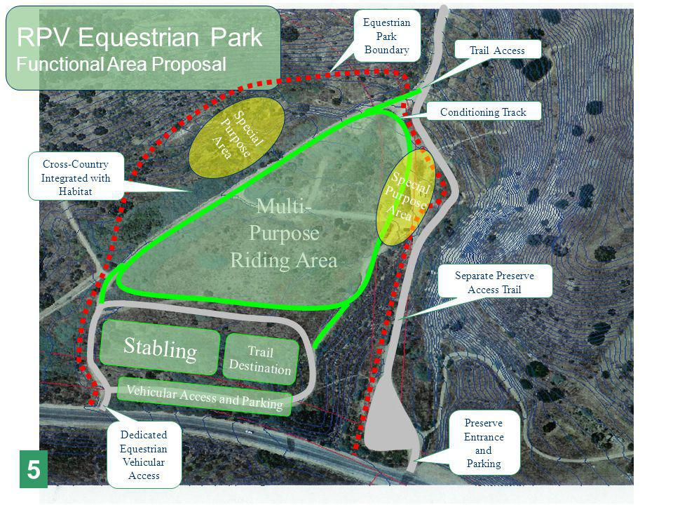 Stabling Trail Destination Special Purpose Area Vehicular Access and Parking Multi- Purpose Riding Area RPV Equestrian Park Functional Area Proposal Separate Preserve Access Trail Dedicated Equestrian Vehicular Access Trail Access Preserve Entrance and Parking Equestrian Park Boundary Cross-Country Integrated with Habitat Conditioning Track Special Purpose Area 5