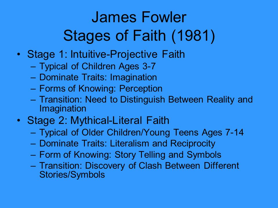 James Fowler Stages of Faith (1981) Stage 1: Intuitive-Projective Faith –Typical of Children Ages 3-7 –Dominate Traits: Imagination –Forms of Knowing: