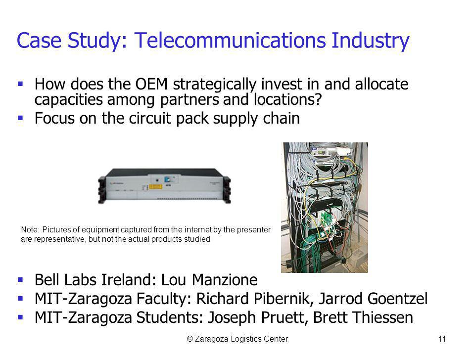 © Zaragoza Logistics Center11 Case Study: Telecommunications Industry How does the OEM strategically invest in and allocate capacities among partners