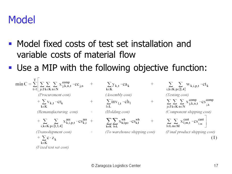 © Zaragoza Logistics Center17 Model Model fixed costs of test set installation and variable costs of material flow Use a MIP with the following object
