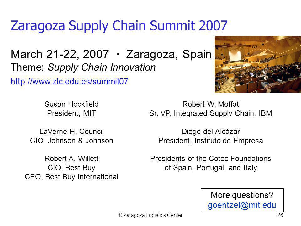 © Zaragoza Logistics Center26 Zaragoza Supply Chain Summit 2007 Susan Hockfield President, MIT LaVerne H.