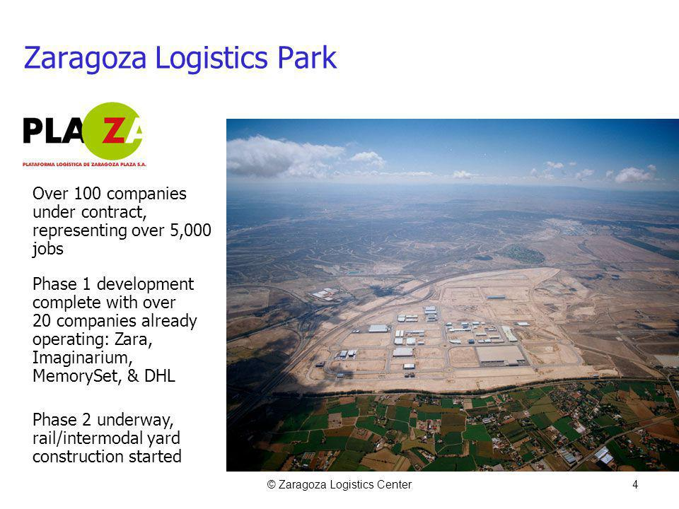 © Zaragoza Logistics Center4 Zaragoza Logistics Park Over 100 companies under contract, representing over 5,000 jobs Phase 1 development complete with over 20 companies already operating: Zara, Imaginarium, MemorySet, & DHL Phase 2 underway, rail/intermodal yard construction started