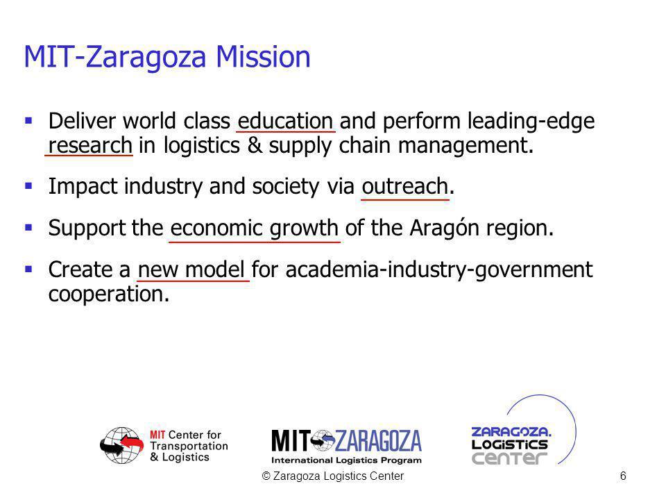 © Zaragoza Logistics Center6 MIT-Zaragoza Mission Deliver world class education and perform leading-edge research in logistics & supply chain manageme