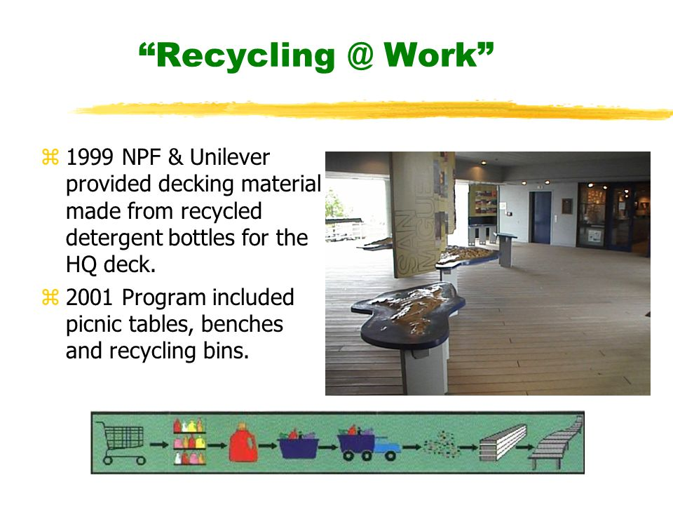 Recycling @ Work z1999 NPF & Unilever provided decking material made from recycled detergent bottles for the HQ deck.