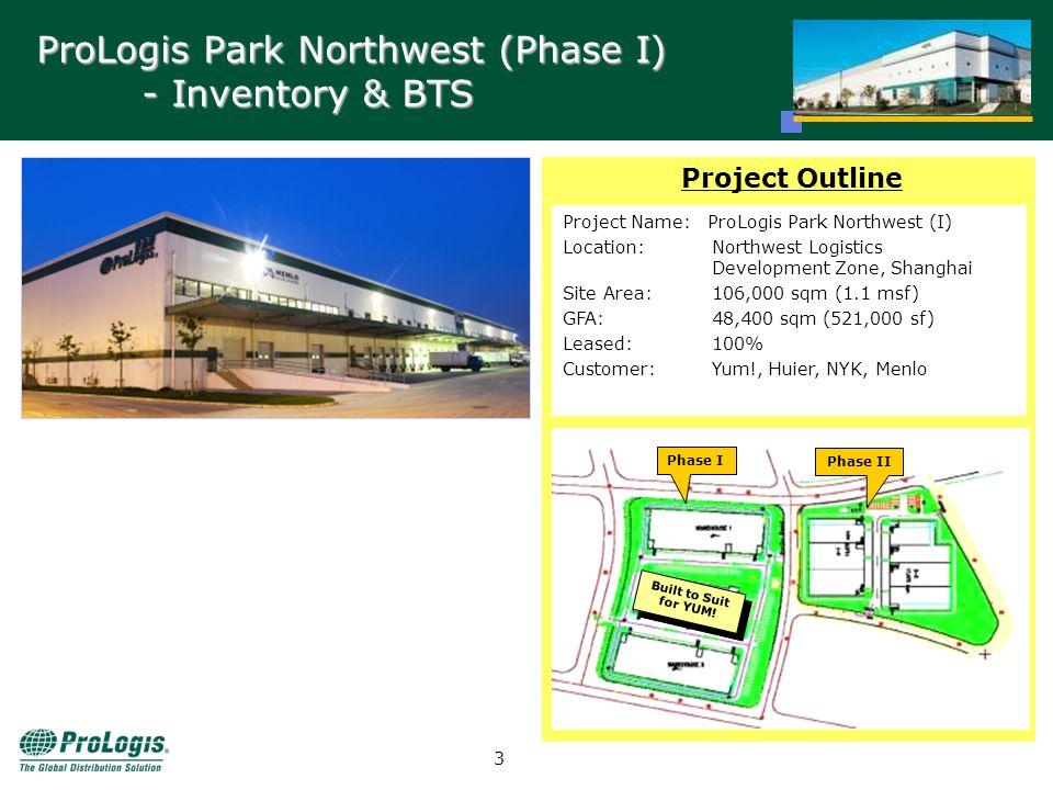 2 ProLogis Park Northwest Site Area: 180,000 sqm GFA: 80,400 sqm (865,425 sf) ProLogis Park Northwest is strategically located in the Shanghai Northwest Logistics Development Zone.
