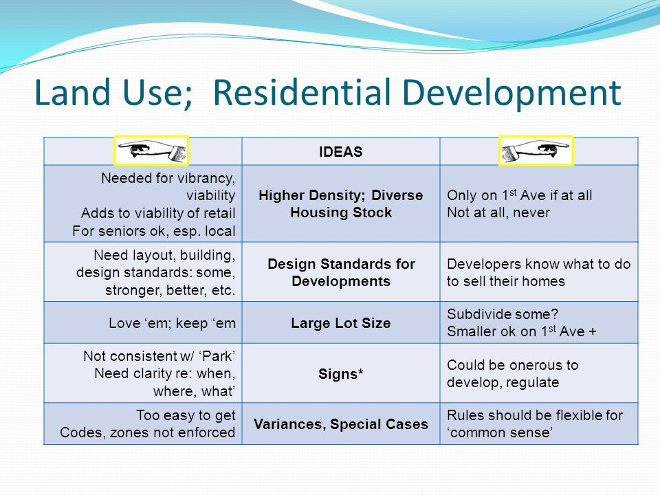 Land Use; Residential Development IDEAS Needed for vibrancy, viability Adds to viability of retail For seniors ok, esp.