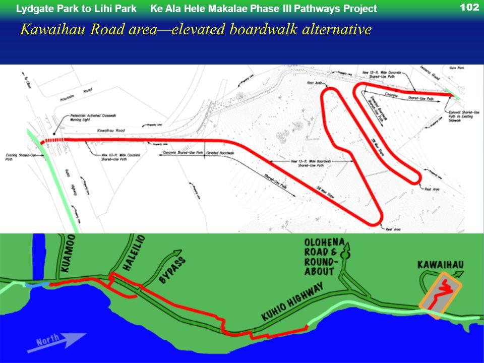 Lydgate Park to Lihi ParkKe Ala Hele Makalae Phase III Pathways Project 102 Kawaihau Road areaelevated boardwalk alternative