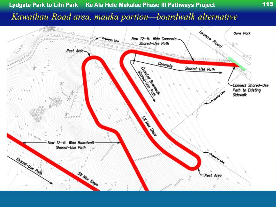 Lydgate Park to Lihi ParkKe Ala Hele Makalae Phase III Pathways Project 115 Kawaihau Road area, mauka portionboardwalk alternative