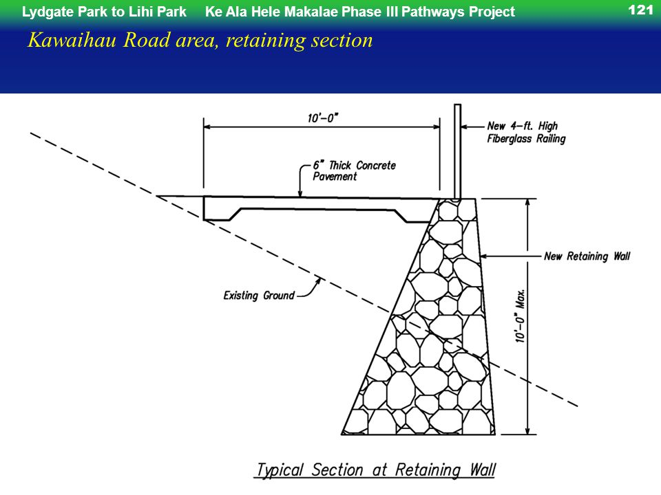 Lydgate Park to Lihi ParkKe Ala Hele Makalae Phase III Pathways Project 121 Kawaihau Road area, retaining section