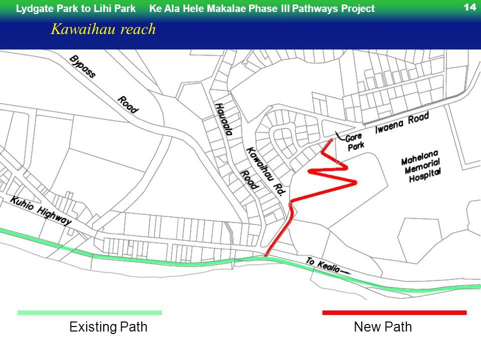 Lydgate Park to Lihi ParkKe Ala Hele Makalae Phase III Pathways Project 14 Kawaihau reach Existing Path Wailua River Cane New Path Haul Bridge Widening