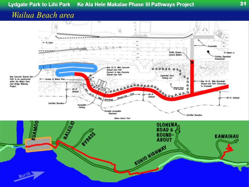 Lydgate Park to Lihi ParkKe Ala Hele Makalae Phase III Pathways Project 31 Wailua Beach area