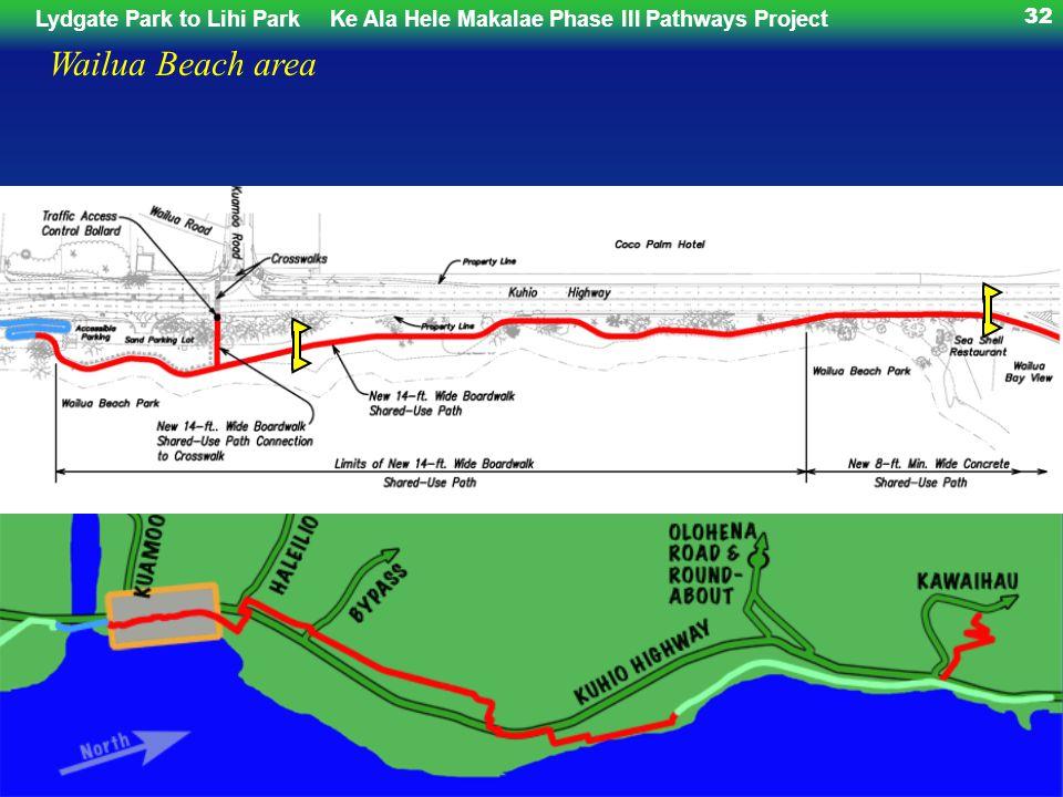 Lydgate Park to Lihi ParkKe Ala Hele Makalae Phase III Pathways Project 32 Wailua Beach area