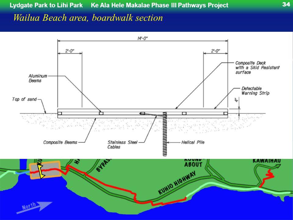 Lydgate Park to Lihi ParkKe Ala Hele Makalae Phase III Pathways Project 34 Wailua Beach area, boardwalk section