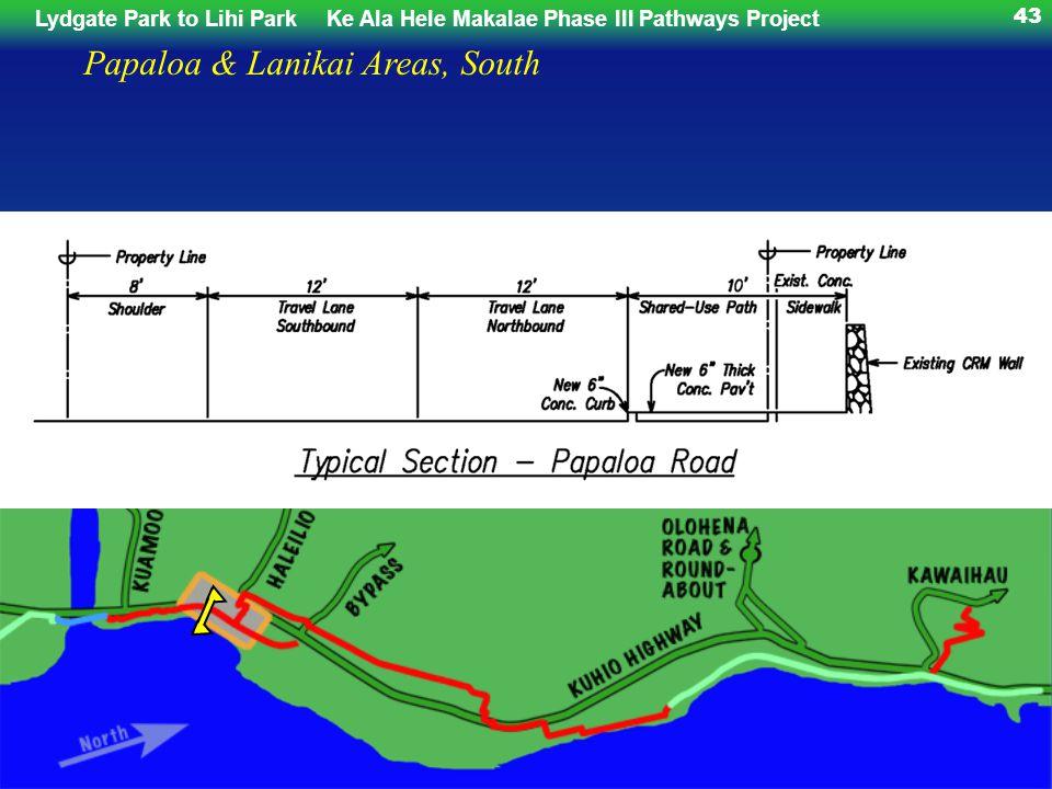 Lydgate Park to Lihi ParkKe Ala Hele Makalae Phase III Pathways Project 43 Papaloa & Lanikai Areas, South
