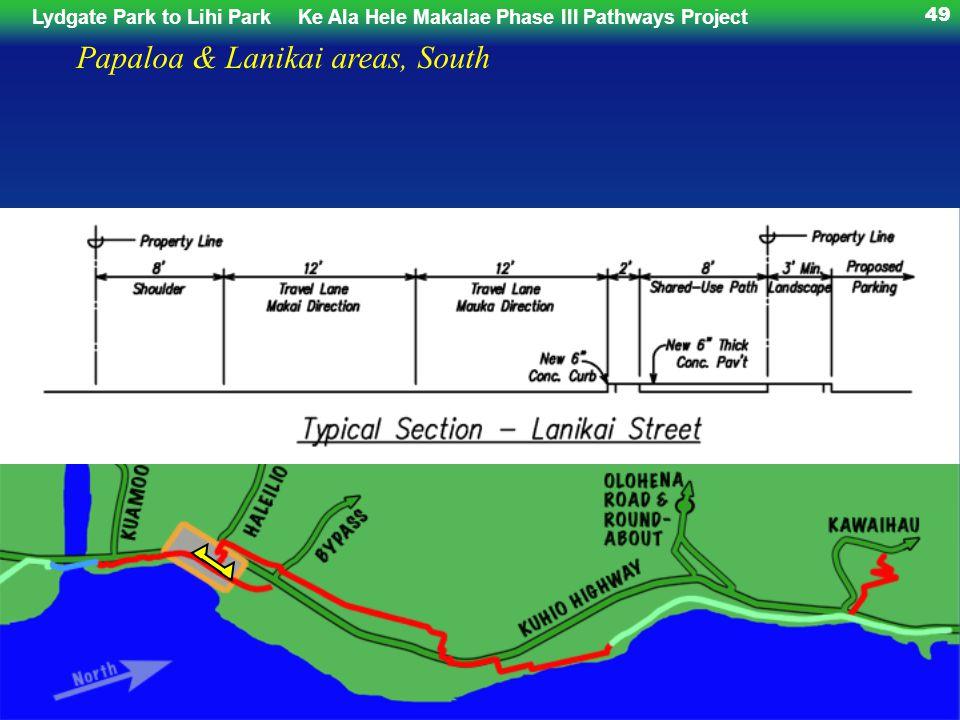 Lydgate Park to Lihi ParkKe Ala Hele Makalae Phase III Pathways Project 49 Papaloa & Lanikai areas, South
