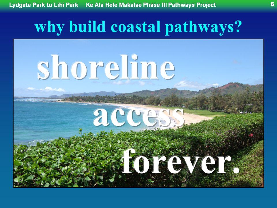 Lydgate Park to Lihi ParkKe Ala Hele Makalae Phase III Pathways Project 6 why build coastal pathways