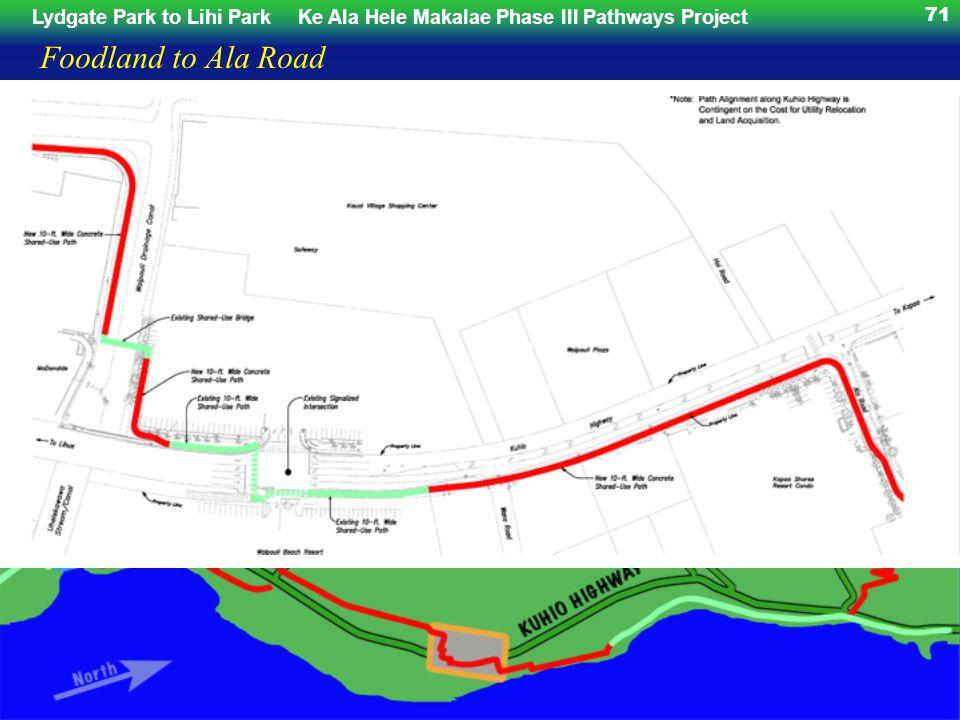 Lydgate Park to Lihi ParkKe Ala Hele Makalae Phase III Pathways Project 71 Foodland to Ala Road
